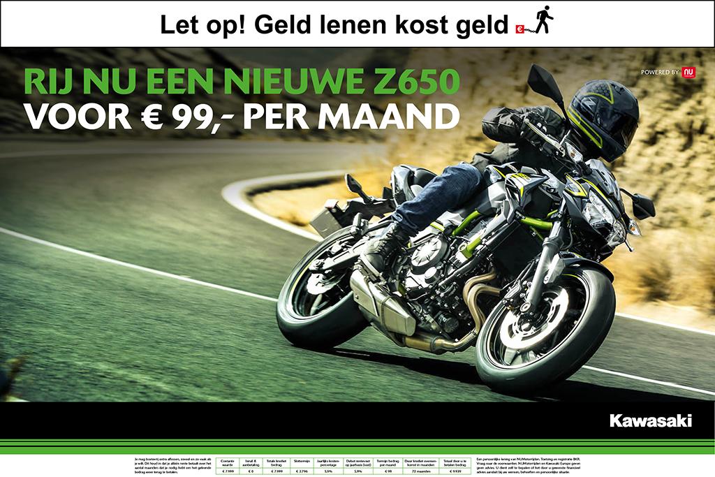 Kawasaki Z650 voor 99 per maand